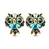 LNKRE JEWELRY Women's Cute Owl Rhinestone Gemstone Stud Earrings