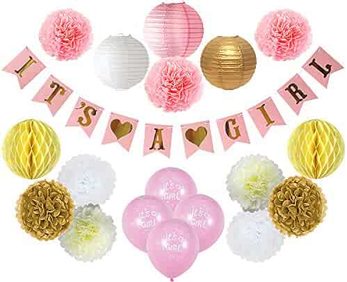 Baby Shower Decorations For Girl – Its A Girl Party Decor - FREE Game Ideas & Checklist Ebook! - Plush Pink and Gold - Banner - Tissue Paper Pom Pom - Paper Lantern - Balloons - Party Ideas
