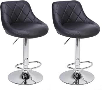 2-Pieces Bar Stools Counter Stool Height Adjustable with Footrest