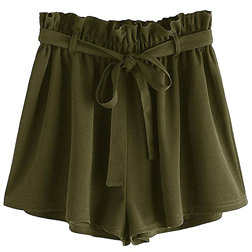 Womens Paper Bag Shorts Pleated Belted Wide Leg Shorts Solid Ruffle Mini Hot Pants Summer Casual Comfy Loose Yoga Workout Shorts with Pockets