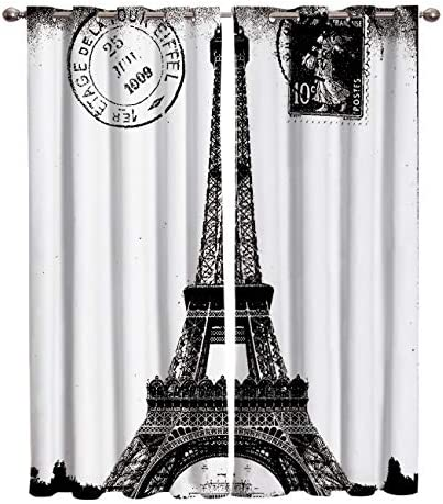 Home Decor Window Curtains, French Paris Eiffel Tower City of Love Black White Monochrome – 2 Panel Window Treatment Set with Grommet Window Drapes Covering for Kitchen Cafe Living Room 104 W x 96 L