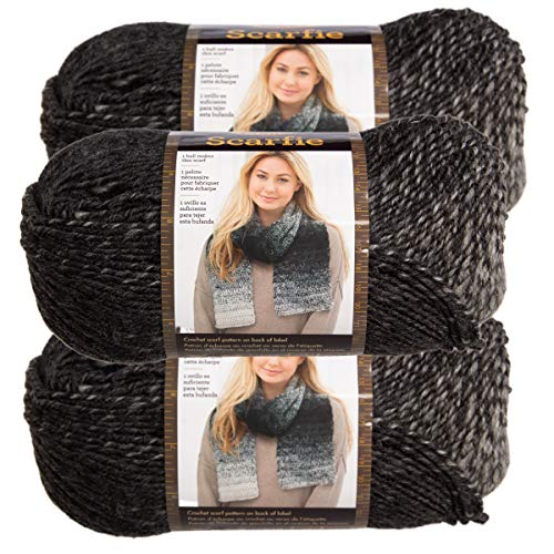 (Lion Brand (3 Pack) Scarfie Acrylic & Wool Soft Silver & Charcoal Yarn for Knitting Crocheting Bulky #5)