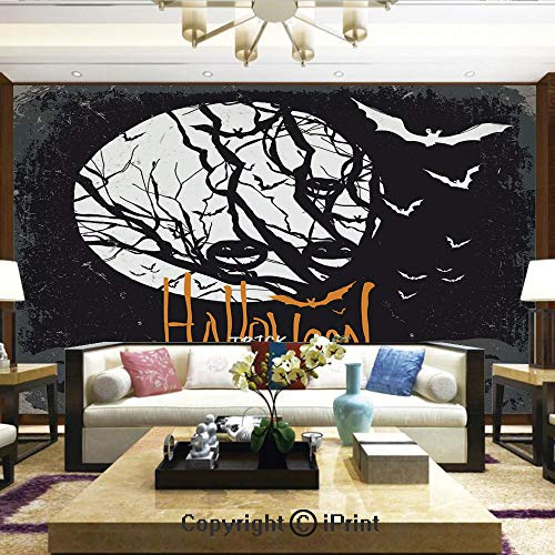 Lionpapa_mural Removable Wall Mural | Self-Adhesive Large Wallpaper,Halloween Themed Image with Full Moon and Jack o Lanterns on a Tree Decorative,Home Decor - 66x96 inches