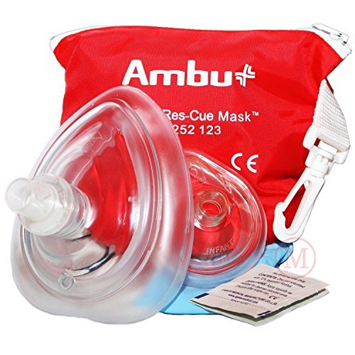 AMBU 000 252 123 Red PVC CPR Res-Cue Adult and Infant Face Masks (Plastic Mask Transparent)