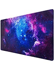 Gaming Mouse Pad, Canjoy Extended Mouse Pad, XXL Large Big Computer Keyboard Mouse Mat Desk Pad with Non-Slip Base and Stitched Edge for Home Office Gaming Work, 31.5x15.7x0.12inch, Galaxy Print…