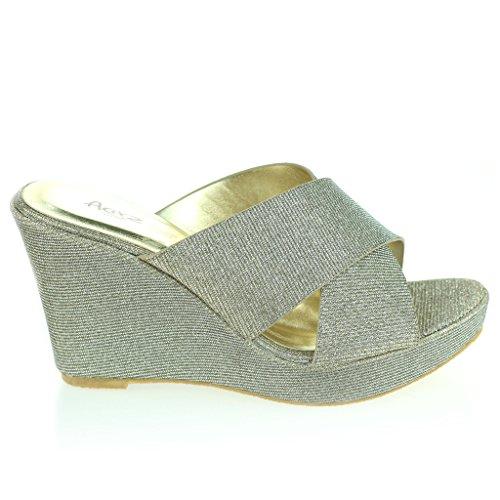 Mujer Señoras Correa Cruzada Tacón De Cuña Noche Fiesta Casual Diario Confort Sandalias Zapatos Tamaño Estaño