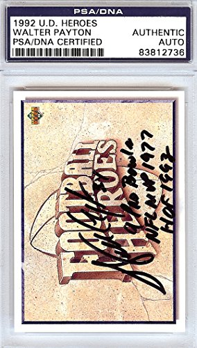 (Walter Payton Autographed 1992 Upper Deck Heroes Card Chicago Bears