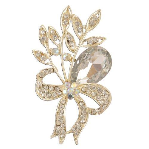 Ribbon Leaves White Crystal Brooch