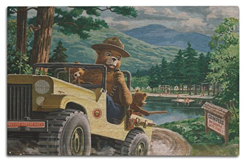 (Lantern Press Smokey Bear - Leaving in Jeep - Vintage Poster (10x15 Wood Wall Sign, Wall Decor Ready to Hang))