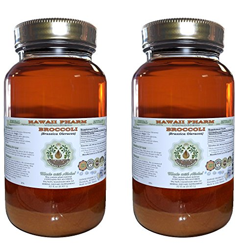 Broccoli Alcohol-FREE Liquid Extract, Organic Broccoli (Brassica Oleracea) Sprouting Seed Glycerite Hawaii Pharm Natural Herbal Supplement 2x32 oz Unfiltered by HawaiiPharm