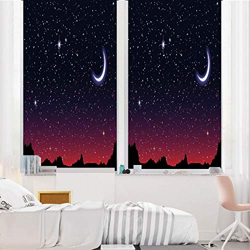 Night 3D No Glue Static Decorative Privacy Window Films, Red Sky at Night with Starry Landscape and Mountains Astrology Astronomy Decorative,17.7
