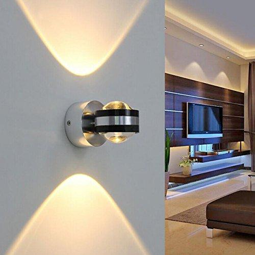 Baytter 2W 6W LED Kugel Wandlampe Wandleuchte Flurlampe Strahler Aluminium warmweiß (6 Watt)