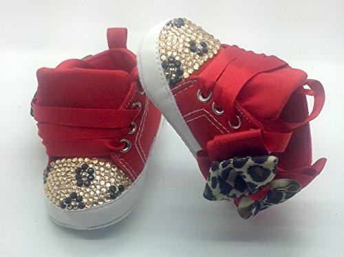 Personalizado Bebé niña leopardo rojo. 9/12Meses zapatos de cuna cochecito Crystal Bling Rhinestone Diamantes de Campanilla Bling tamaño 6/9Meses. Primera Walker.