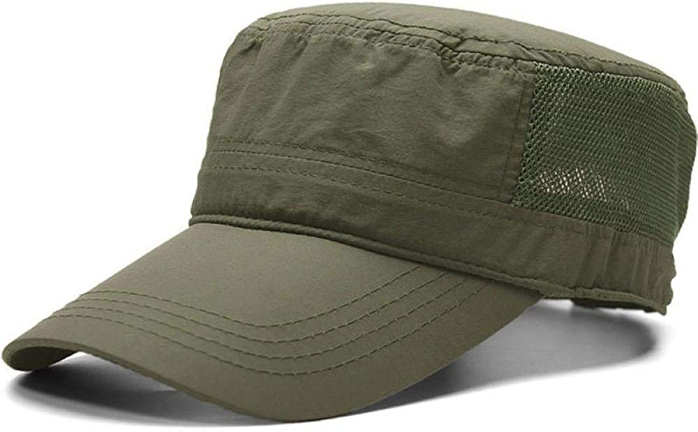 Dad Outdoors Long Peaked Army Caps Male Thin Fabric Dry Quickly Mesh Flat Top Hat Black 55 to 61cm