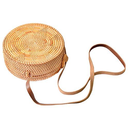 Hopeeye Femme Sac Sac à bandoulière en paille Sac à main Main Beach Girl Gift Brown 2-marron