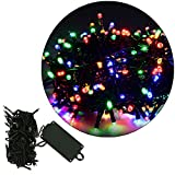 crownroyaljack Battery LED String Lights Outdoor Indoor Hanging Lights Waterproof LED Fairy Starry Lights for Bedroom Patio Garden Party Wedding Christmas Tree Lighting Decoration, Rainbow(10m 72 led)
