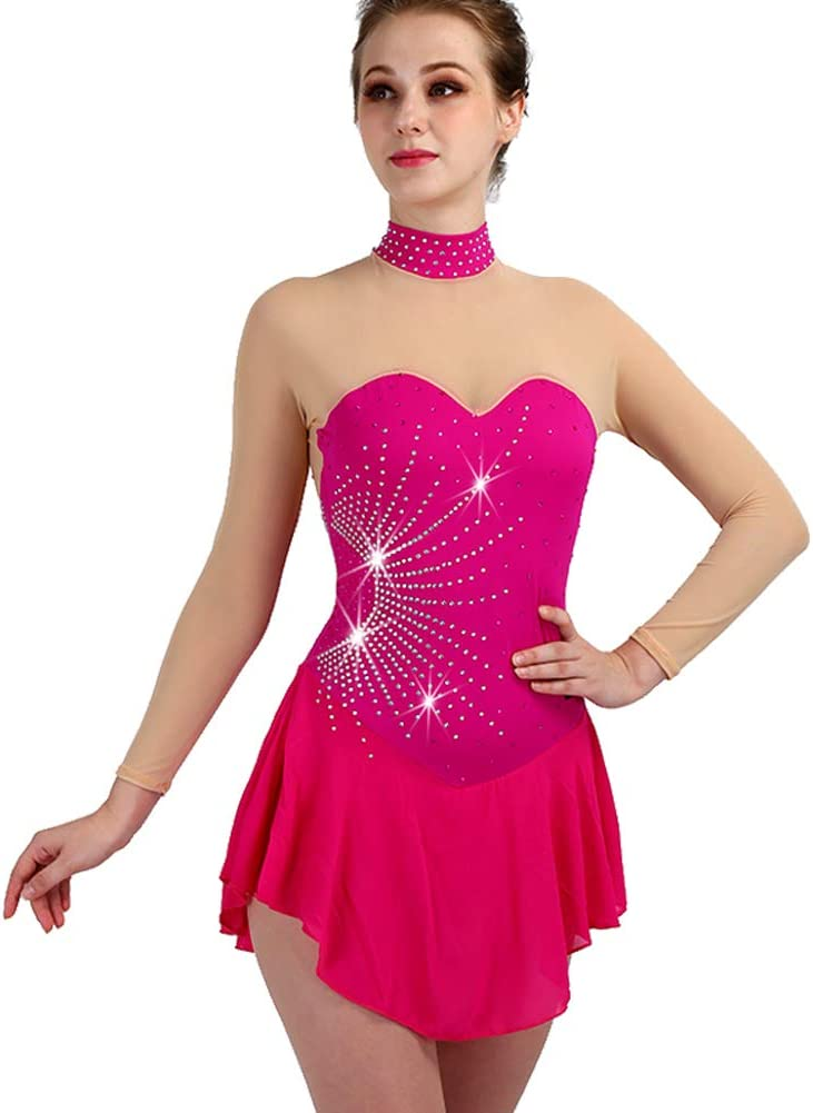 [RIKOUZY] フィギュアスケート衣装 子供 大人 肌色 襟立 アイススケートウェア 専用レオタード レッスン着 練習 競技 ダンスウェア スケート衣装 ローズ 大人S