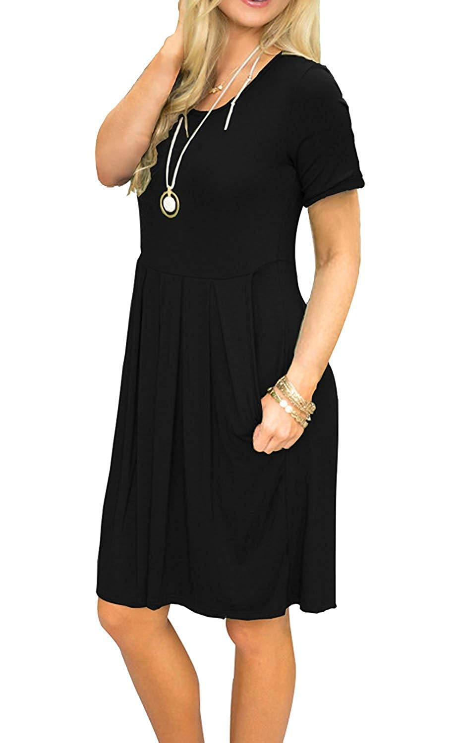 AUSELILY Women's Short Sleeve Pleated Loose Swing Casual Dress with Pockets Black L
