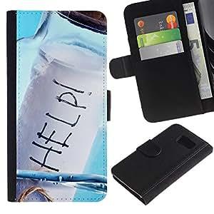KLONGSHOP / Tirón de la caja Cartera de cuero con ranuras para tarjetas - Help Message In A Bottle - Samsung Galaxy S6 SM-G920