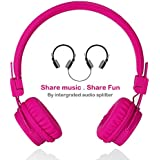Wired Kids Headphones with Microphone, Foldable Lightweight Adjustable Stereo Headset for Cellphones Smartphones iPhone iPod Laptop Computer and More by Termichy (Pink)