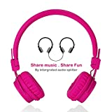 Cheap Wired Kids Headphones with Microphone, Foldable Lightweight Adjustable Stereo Headset for Cellphones Smartphones iPhone iPod Laptop Computer and More by Termichy (Pink)