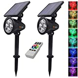 Itscool Solar Spotlight Outdoor Security Light, 9 Colors Auto-Shifting with Remote Control for Garden (Pack of 2) Review