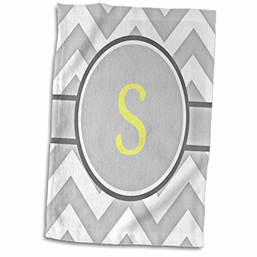 (3D Rose Grey and White Chevron with Yellow Monogram Initial S Hand Towel, 15
