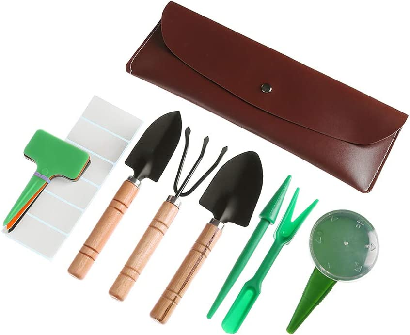 5 Pieces Miniature Fairy Garden Tools with Wooden Handle Shovel Rake and Seed I8
