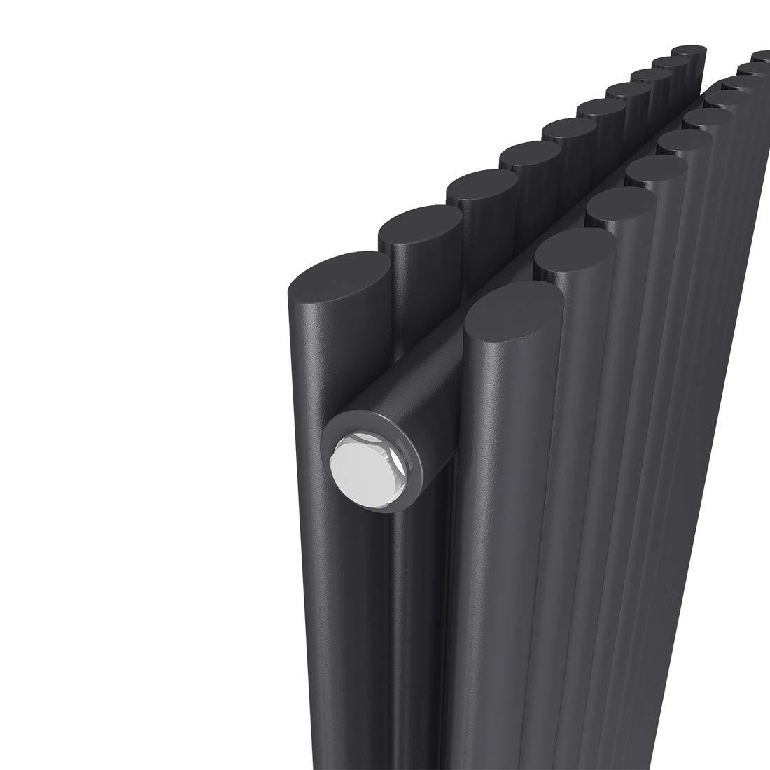 EMKE Heizk/örper Design-Heizk/örper Antrazit Vertikal 1800x480mm Heizung Mittelanschluss Einreihig 874W