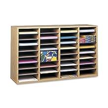 Safco Products Wood Adjustable Literature Organizer, 36 Compartment, Medium Oak, 9424MO