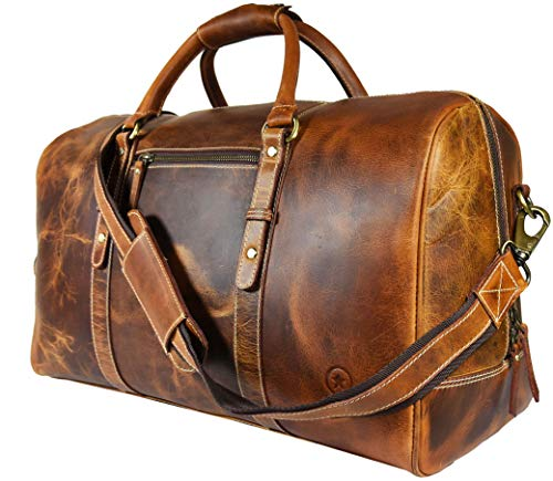 Leather Travel Duffle Bag | Gym Sports Bag Airplane Luggage Carry-On Bag By Aaron Leather