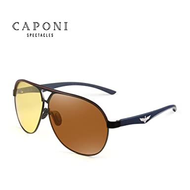 c5c27d35d17 CAPONI Yellow Polarized Sunglasses Men Women Night Vision Goggles Driving  Glasses Driver Aviation Polaroid Sun Glasses