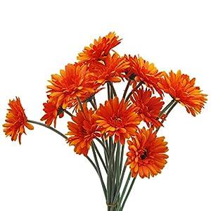 "cn-Knight Artificial Flower 12pcs 22"" Long Stem Silk Daisy Faux Mums Flower Chrysanth Gerbera for Wedding Bridal Bouquet Bridesmaid Home Decor Office Baby Shower Prom Centerpiece(Light Orange)"
