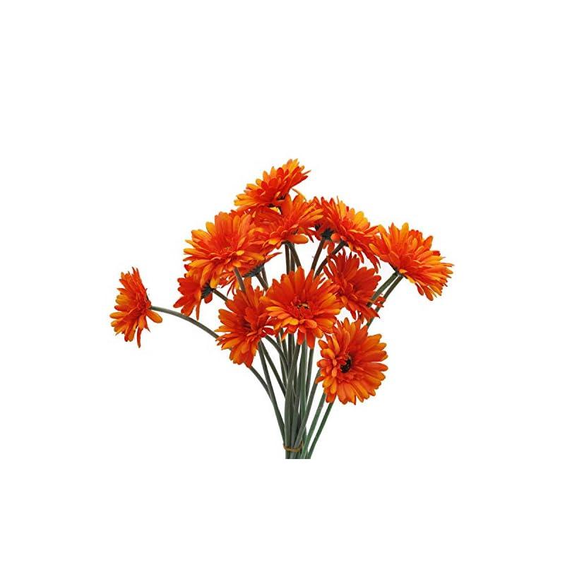 silk flower arrangements cn-knight artificial flower 12pcs 22'' long stem silk daisy faux mums flower chrysanth gerbera for wedding bridal bouquet bridesmaid home decor office baby shower prom centerpiece(light orange)