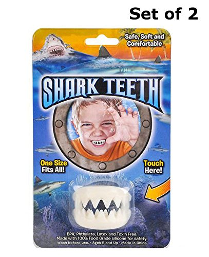 BlueBrass White Shark Teeth Mouthpiece - Party Favor - Safe, Soft and Comfortable - 2 Pack by BlueBrass