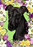 Greyhound Black – Tamara Burnett Easter Flowers Large Flags