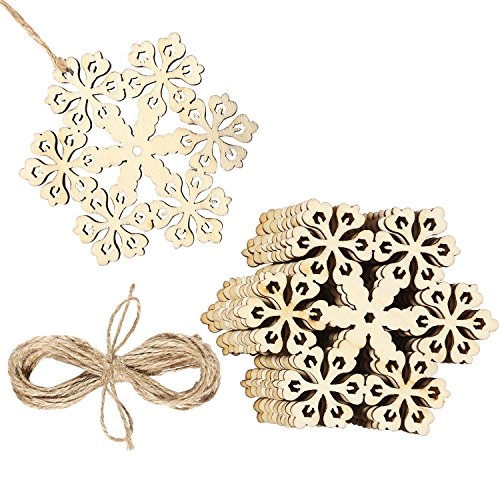 (Aneco 20 Pieces Hollowed Christmas Wooden Snowflake Christmas Tree Hanging Ornaments with Twines)