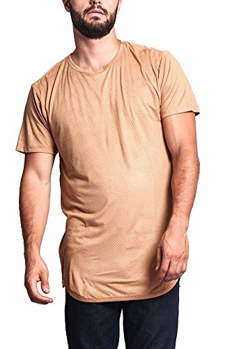 G-Style USA Perforated Faux Suede Long Length Curved Hem T-Shirt w/ Side Zippers - TS670 - WHEAT - 6X-Large - N2