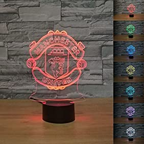 SUPERNIUDB 3D UNITED Football Club 3D LED Night Light 7 Color Change LED Table Lamp Xmas Toy Gift