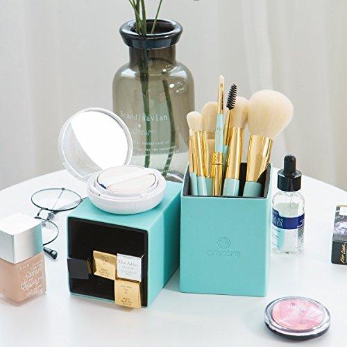 amoore Makeup Brushes 8 Pcs Makeup Brush set Makeup Brush with Case Foundation Brush Powder Brush Mint Green