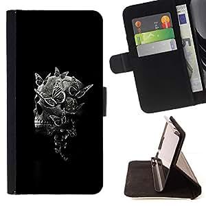 Momo Phone Case / Flip Funda de Cuero Case Cover - Negro del cráneo de la muerte Significado Profundo Negro - HTC One M7
