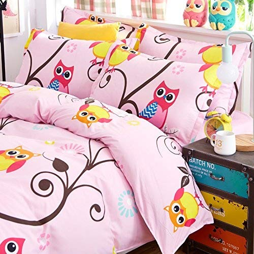 Bed Set 4pcs Bedding Set Cantoon Animal Design One Duvet Cover Without Comforter One Flat Sheet Two Pillowcase Full Size 70''x86'' for Kids Teens Sheet Sets (Full, Happy Owl, Pink) by Nova