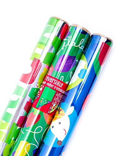 Hallmark Reversible Christmas Wrapping Paper Bundle, Foil Kids (Pack of 3, 60 sq. ft. ttl.) -