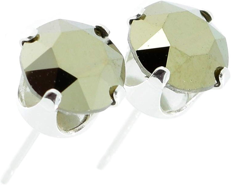 pewterhooter - Pendientes de tuerca de plata de ley 925 fabricados por expertos con cristal brillante de oro metálico de Swarovski. Caja de Londres.