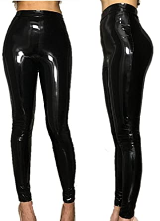 Stretch Pvc Leggings Leather Womens Waist Look Wet Pu High Trousers wgFPFHqf