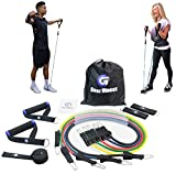 Geez FITNESS Snap-Proof Resistance Bands FULL SET for Women and Men - Fitness, Mobility, Strength Training Body & Injury Rehab, Door Anchor, Bands for Chest, Thighs, Legs, Arms + straps & handles