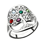 Illango Tree of Life Ring Sliver Birthstone Ring Sterling Silver Family Tree Ring Custom Mother's Ring