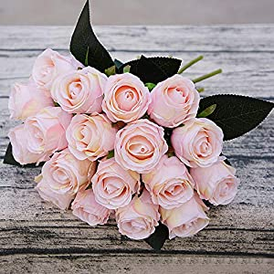 GSD2FF 18pcs/Lots Artificial Rose Flowers Wedding Bouquet White Pink Rose Silk Flowers Home Decoration Wedding Party Decor 101