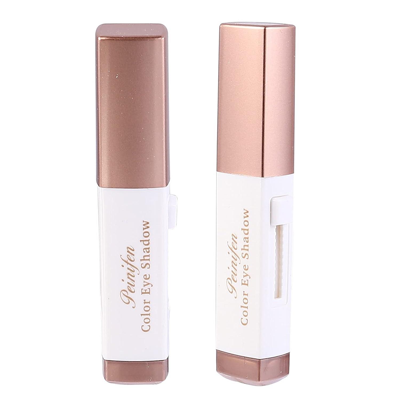 Lurrose Eyeshadow Stick, 2pcs Eye Shadow Stick Double Colors Waterproof Gradient Makeup Eye Shadow Makeup Pen for Eye Make up (03Reddish Brown+ 04Earth Tone)