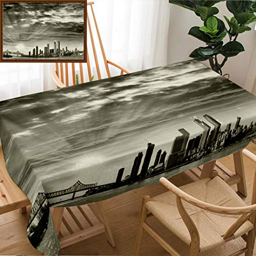 Skocici Unique Custom Design Cotton and Linen Blend Tablecloth Black and White Panoramic View of New Orleans Louisiana UsaTablecovers for Rectangle Tables, 78